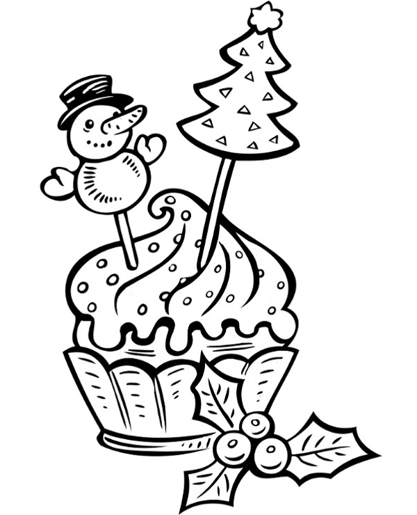Christmas Fancy Cake Coloring Page To Print Or Download