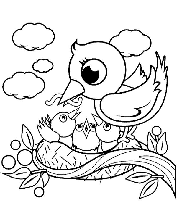 Birds in the nest coloring page
