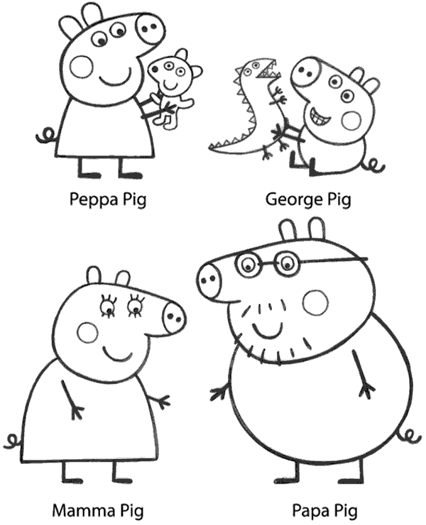 George, Peppa, Daddy and Mummy printable image