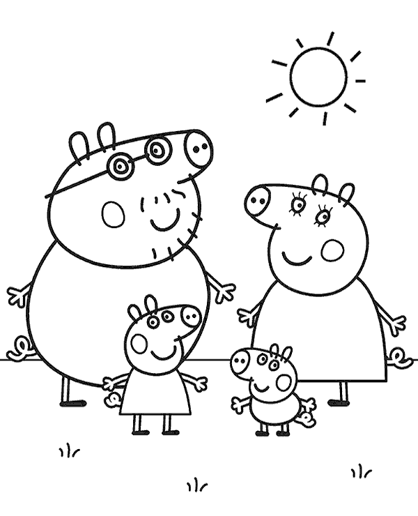 Pigs family to print and color