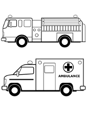 Two rescue car on coloring picture