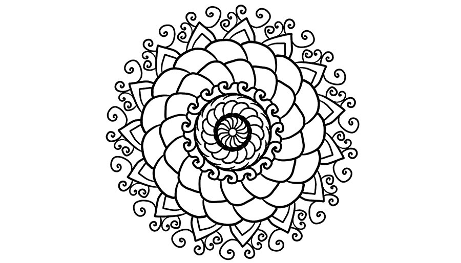 Coloring page with mandala