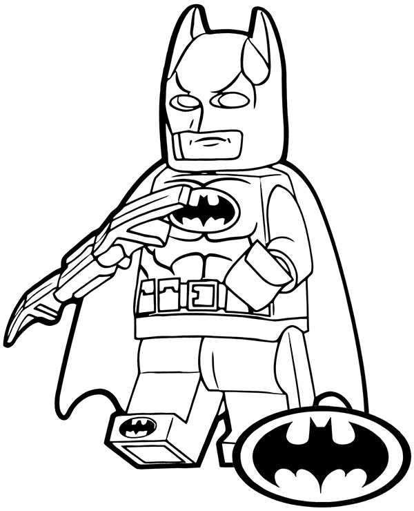 Lego minifigure of Batman coloring sheet