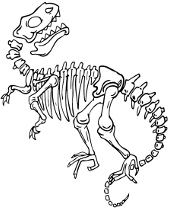 Skeleton of prehistoric reptile on coloring pages