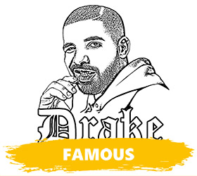 A famous rapper Drake to color