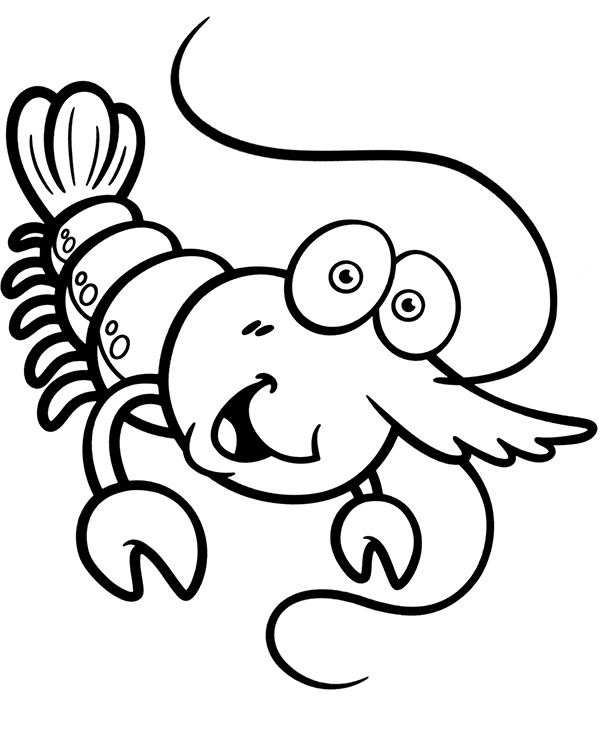 Cartoon crayfish coloring page sheet
