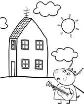 House of Peppa Pig on coloring page
