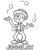 Comic book juggler coloring picture