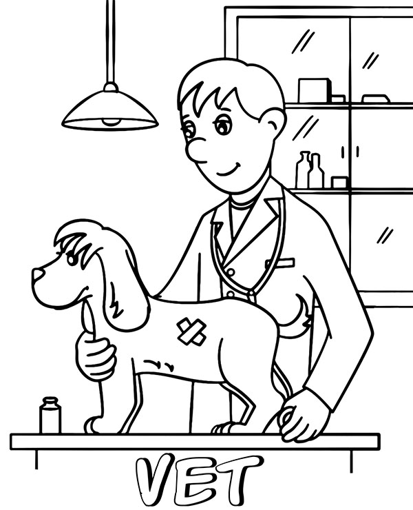 A vet coloring page sheet
