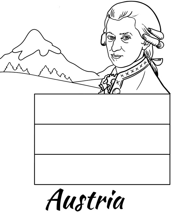 Austrian flag educational coloring page