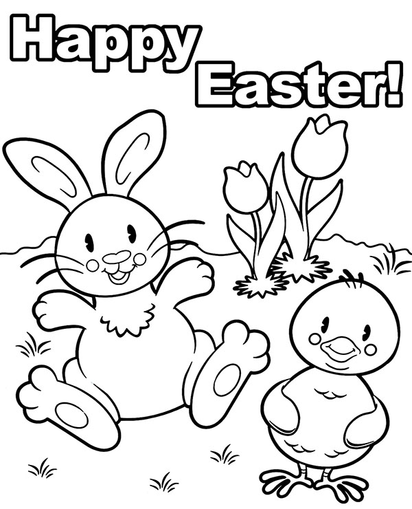 Happy Easter coloring page for children greeting card