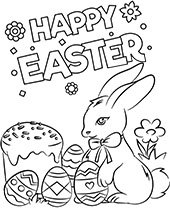Easter card coloring greeting card with bunny