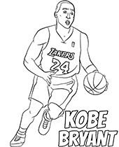 Kobe Bryant coloring pages with basketball player