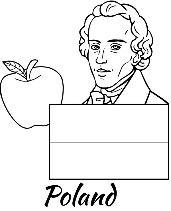 Polish flag coloring page Chopin