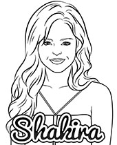 Free coloring pages with pop stars Shakira