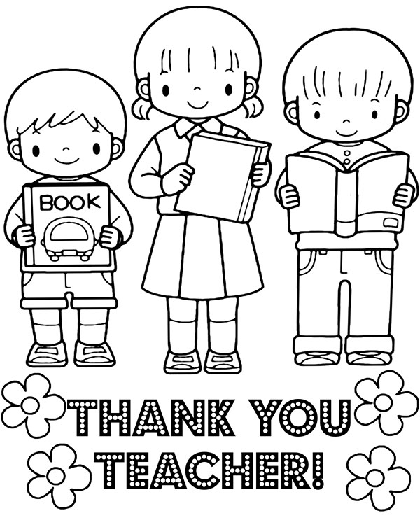 Thank you teacher greeting card for coloring