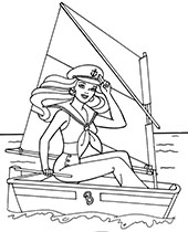 Barbie captain sailing on the sea