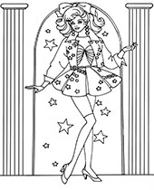 A classic coloring sheet with Barbie doll