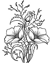 Coloring sheet with bunch of flowers