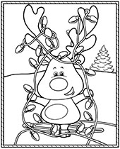 Cheerful Christmas coloring page for kids