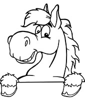 Head of a funny horse coloring sheet