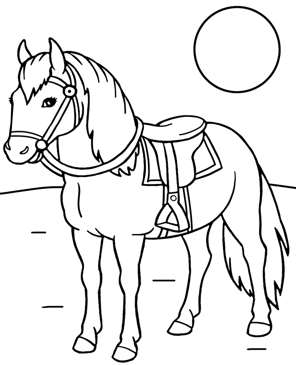 A horse with a saddle coloring page