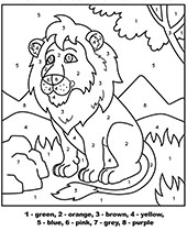 Simple lion coloring page for kids