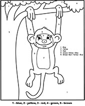 A monkey swinging on a branch