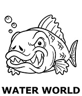 Water world coloring pages category banner