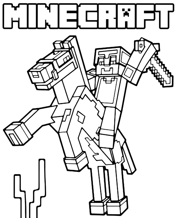 Minecraft Steve on horse coloring page Minecraft
