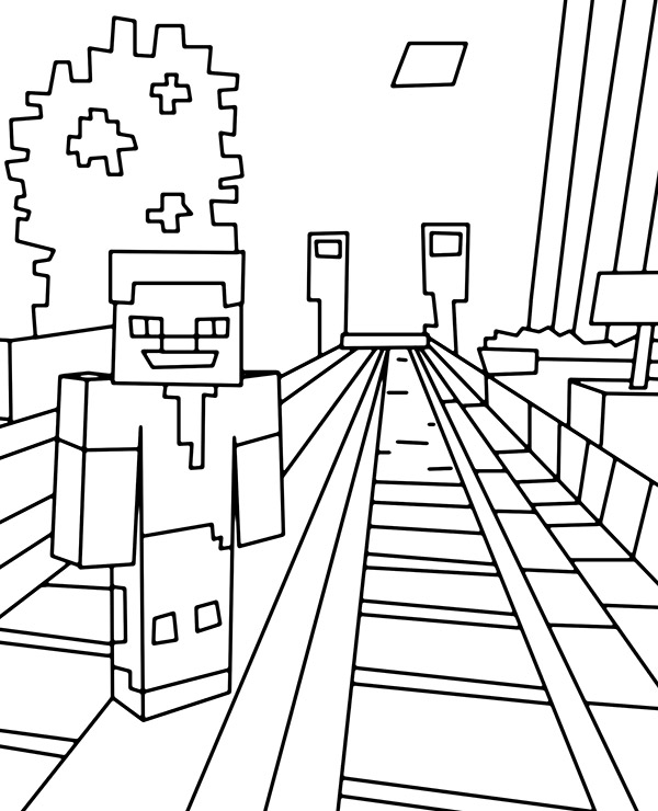 Minecraft trainstation coloring page for boys