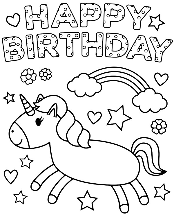 Happy birthday coloring page with unicorn