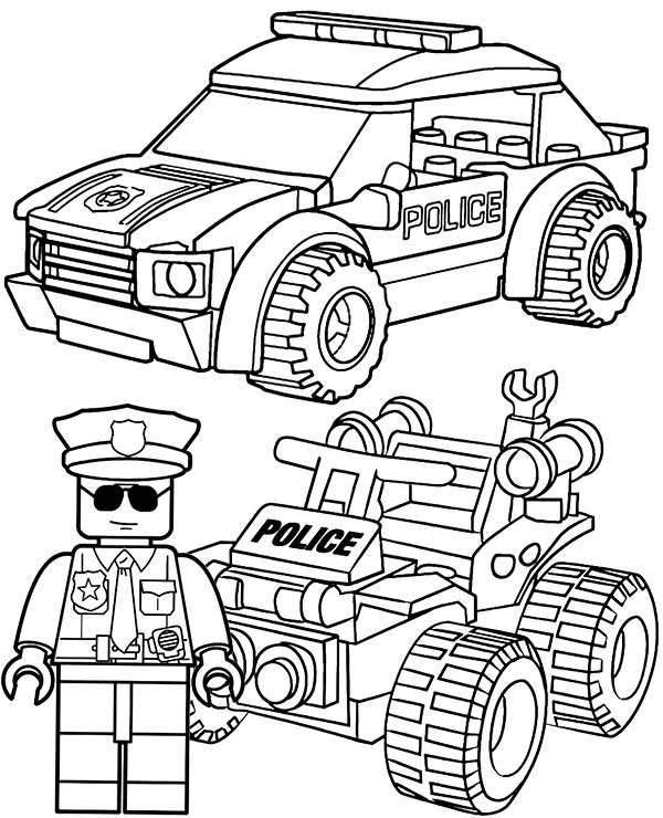 LEGO police coloring page for boys
